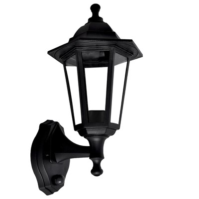 60W ES PIR LANTERN WALL MOUNTED BLK IP44