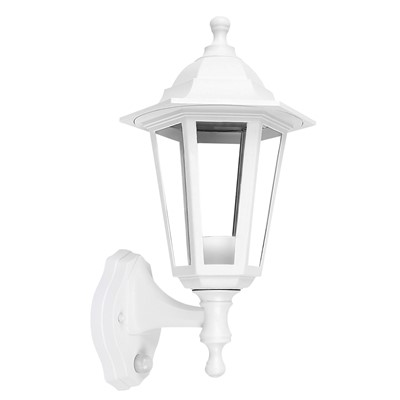 60W ES PIR LANTERN WALL MOUNTED WHI IP44